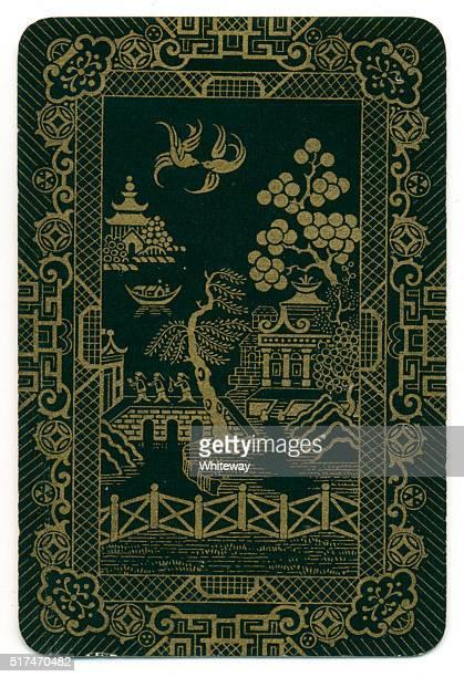 Carte à jouer arrière conception noir laqué or motif de 1910 Saule