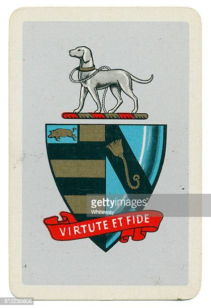 Talbot crest on Marriott Morley coat of arms playing card