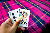 Playing card on relaxing time, card on hand for playing