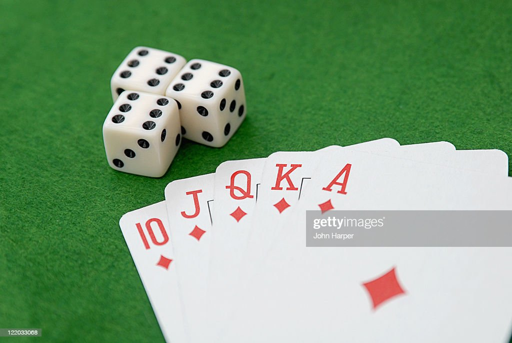 Playing cards and dice : Stock Photo