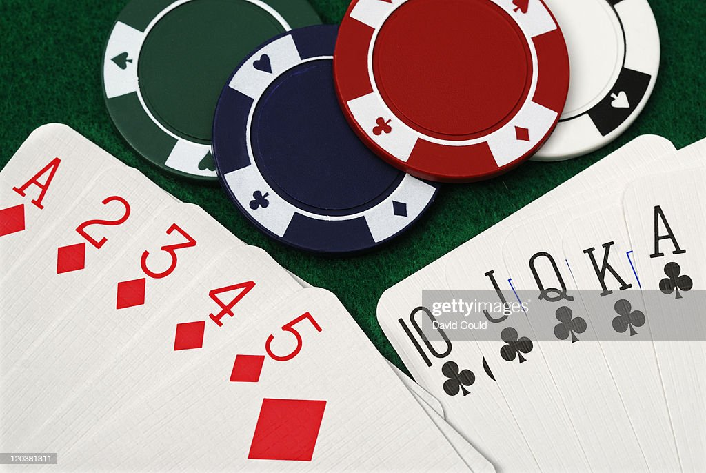 Playing cards and gambling with poker chips : Stock Photo