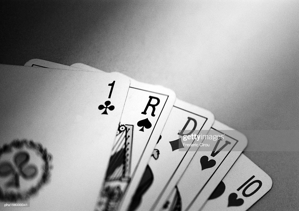 Playing cards, b&w. : Stock Photo