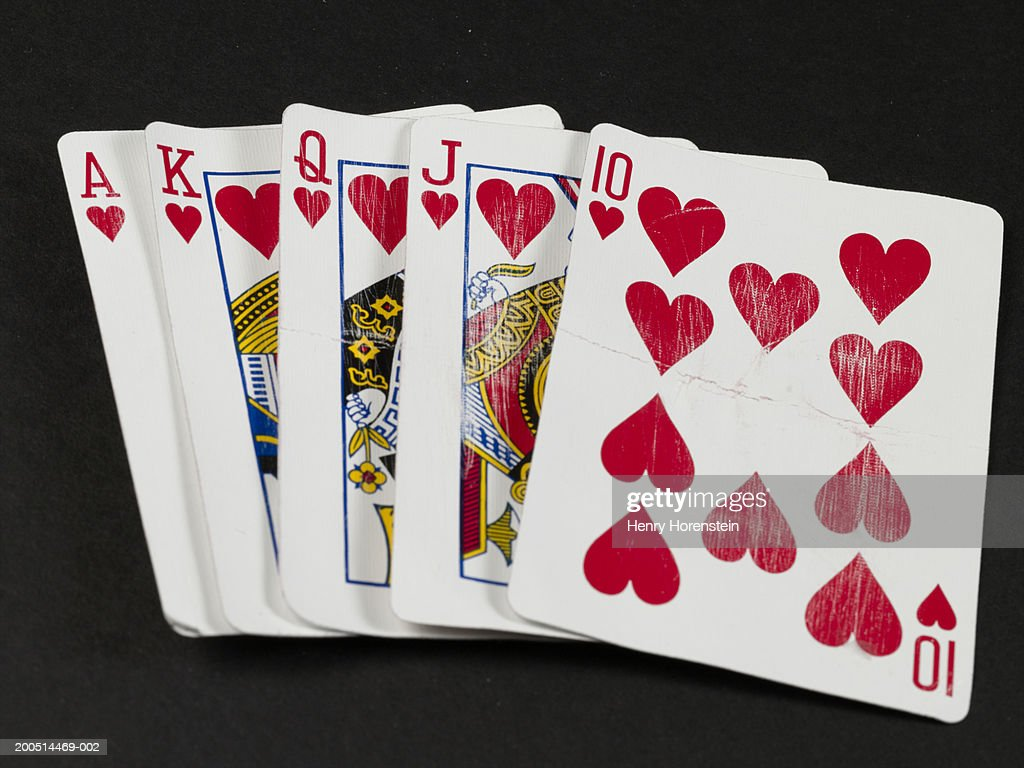 Playing cards in winning poker hand : Stock Photo