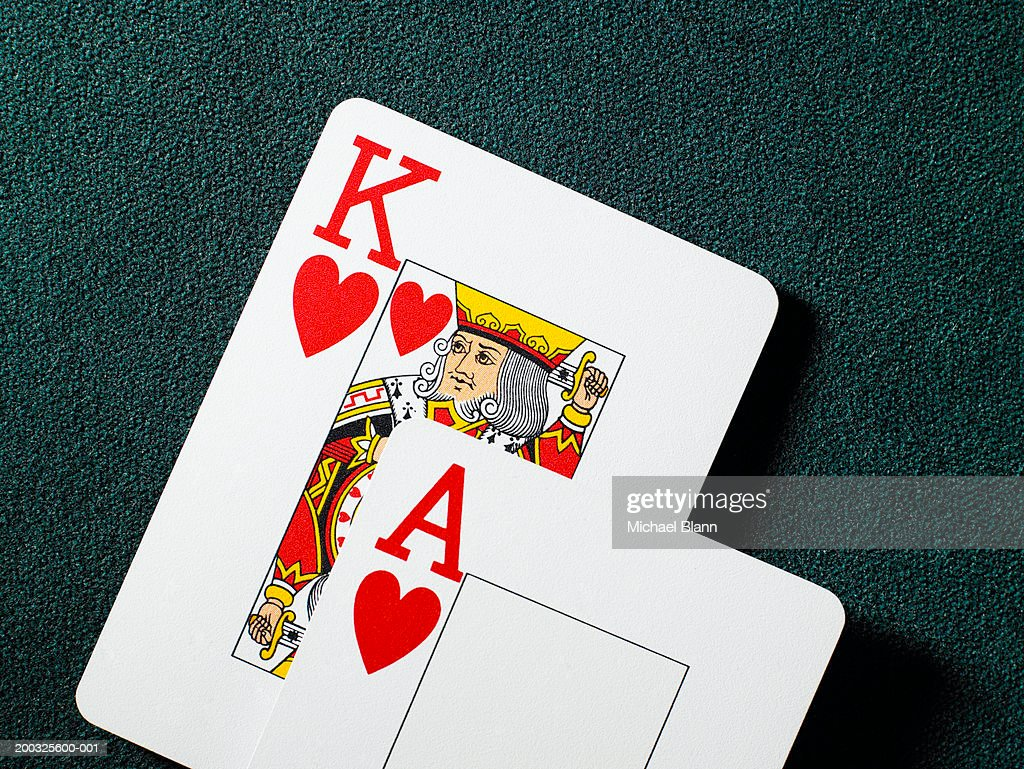 Playing cards, king and ace of hearts, close-up : Stock Photo