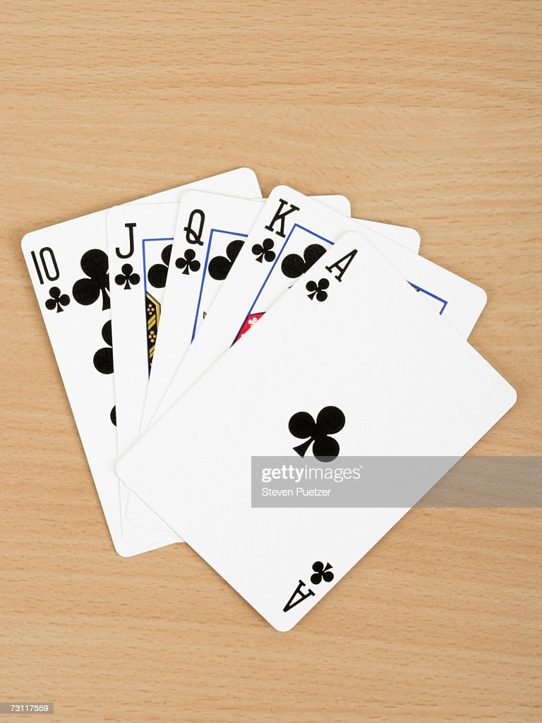 Playing cards showing royal flush, close up : Stock Photo
