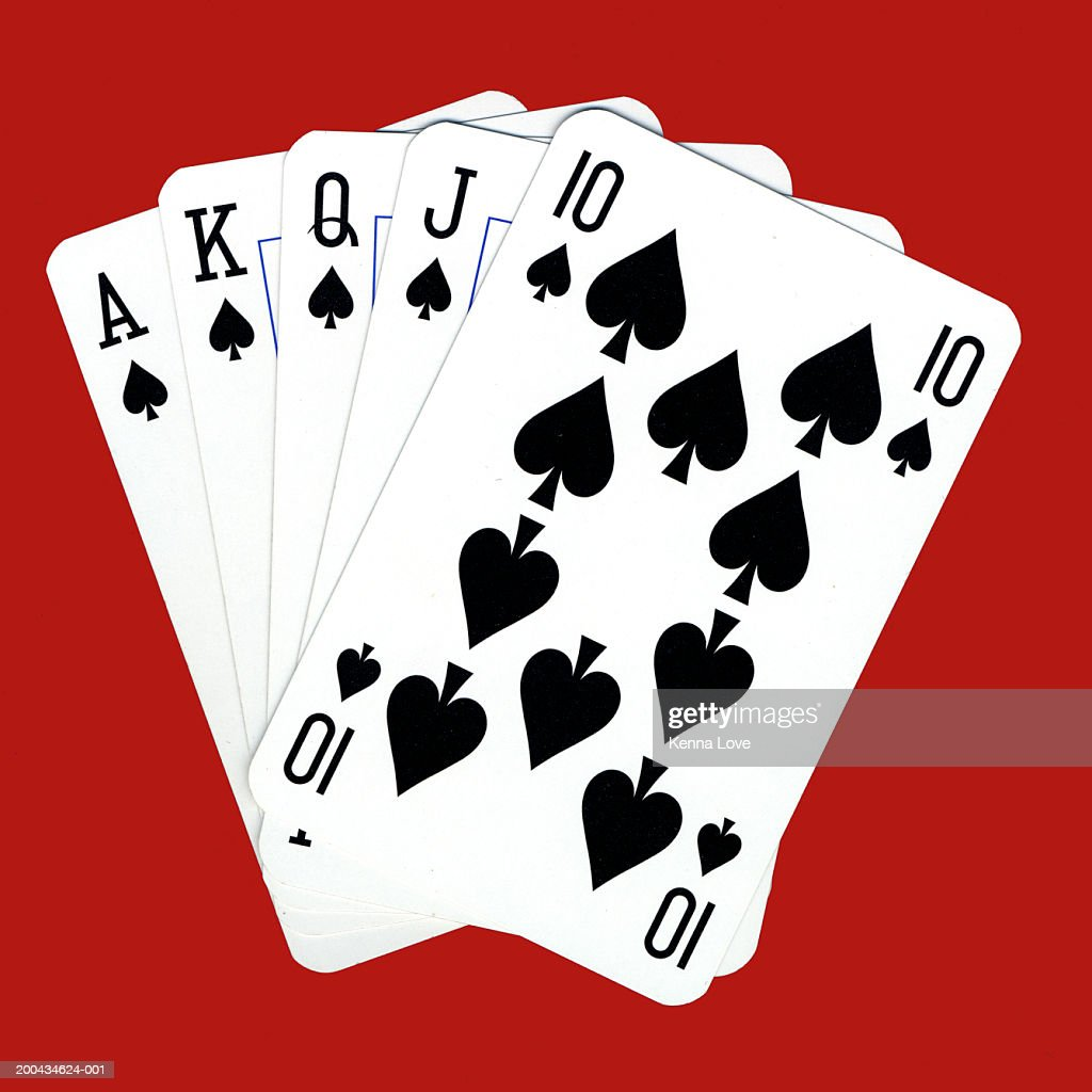 Playing cards showing royal flush, close-up : Stock Photo