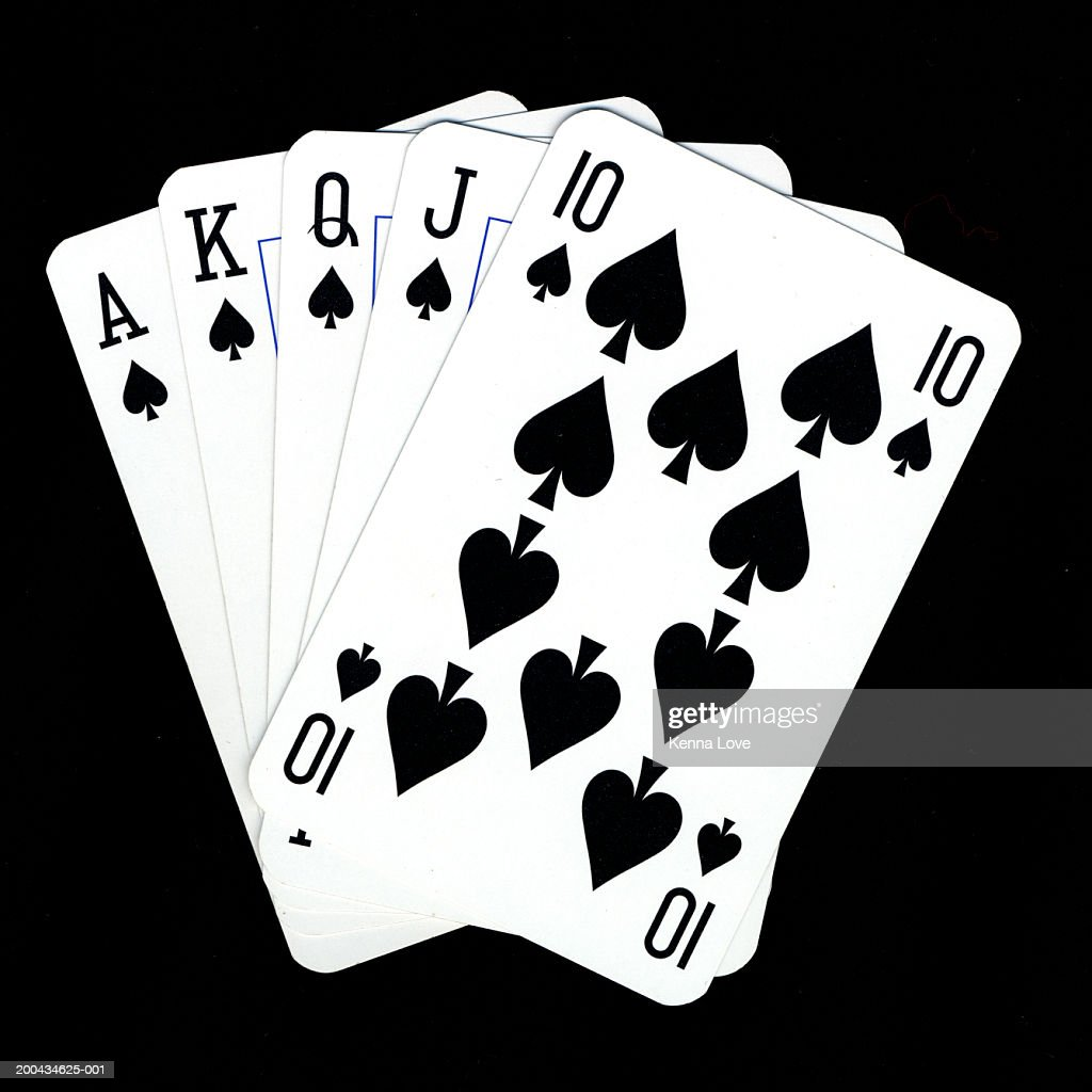 Playing cards showing royal flush, close-up : Foto de stock