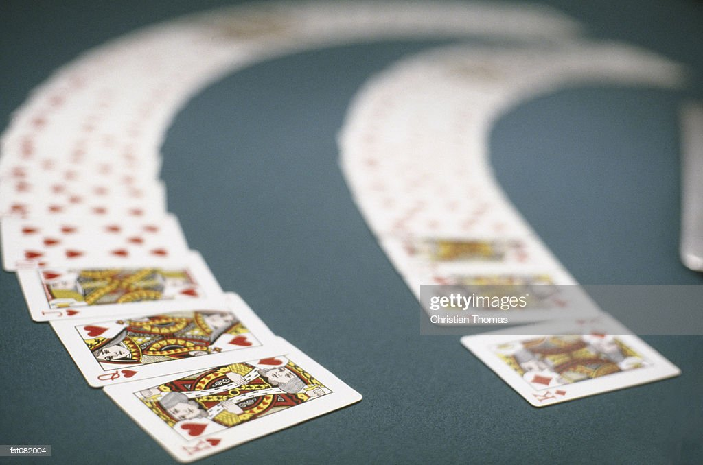 Playing cards spread out on a table, Las Vegas, Nevada, USA : Stock Photo