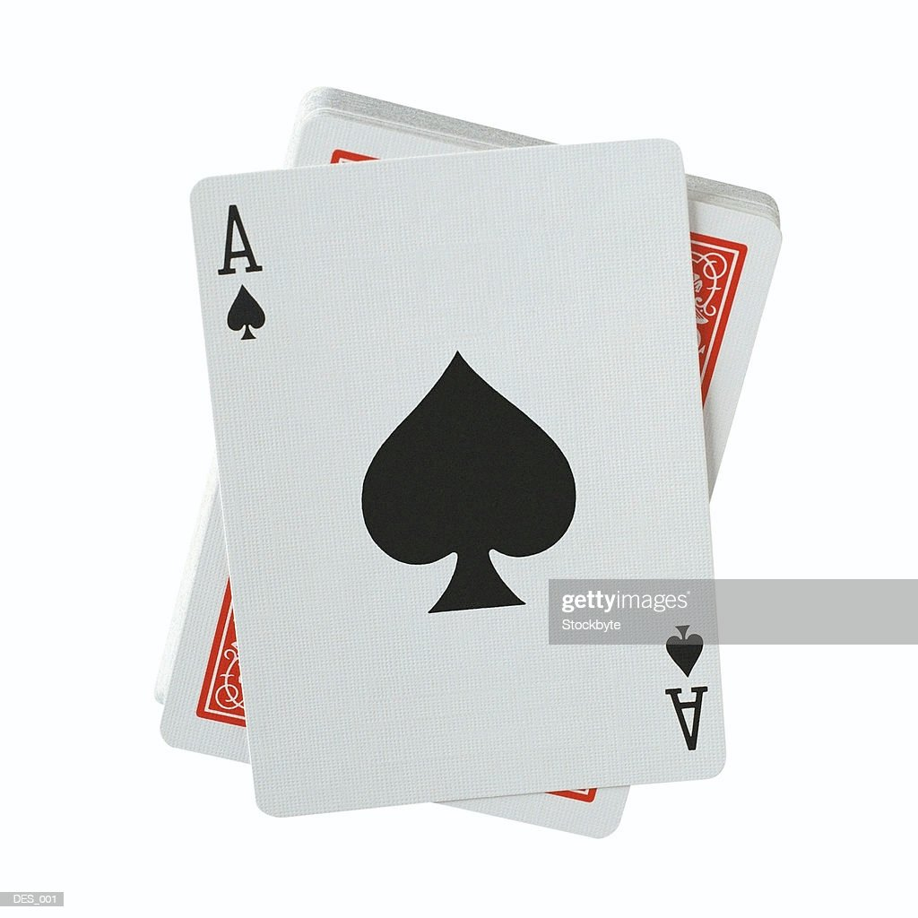 Playing cards with ace of spades facing up : Stock Photo