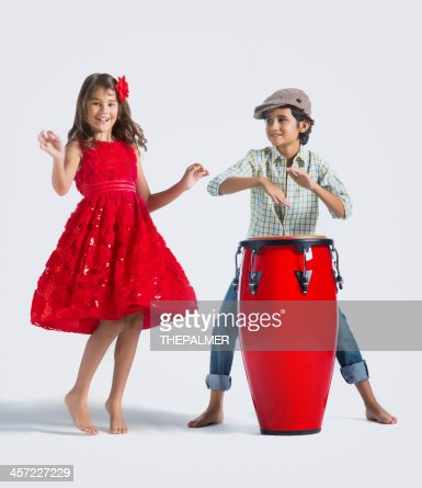 playing congas and dancing
