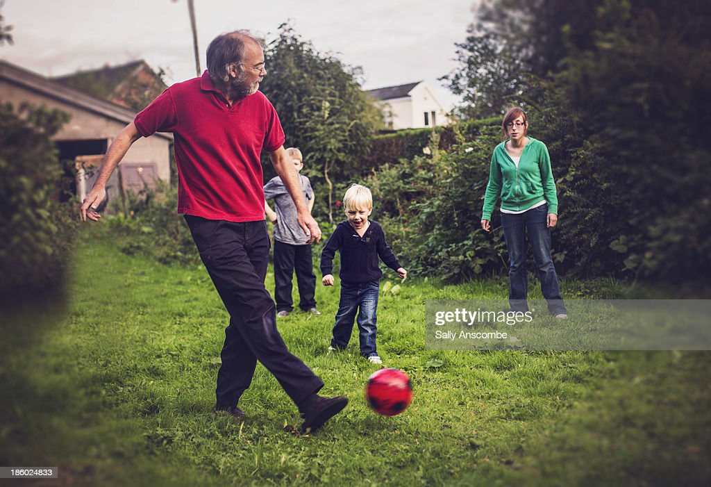 Playing football in the garden