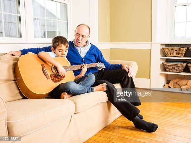Playing guitar and hanging out with granddad