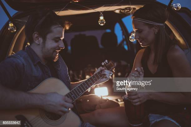 Playing guitar on a date