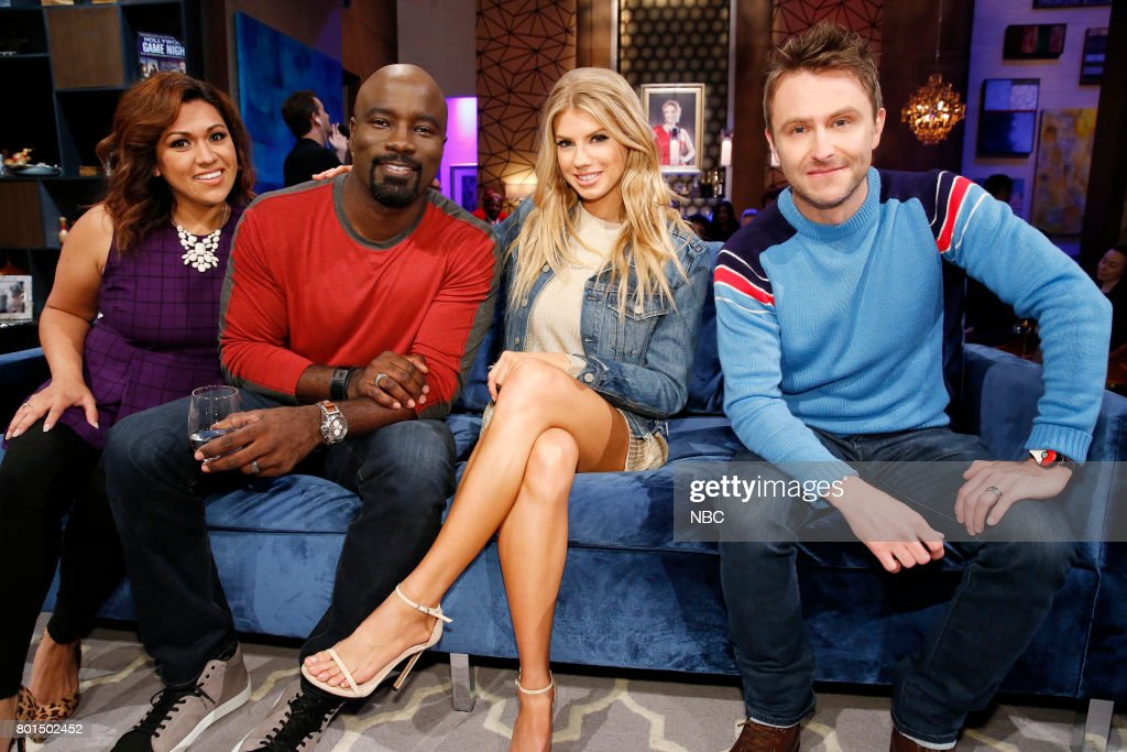 NIGHT -- 'Playing Hardwick to Get' Episode 503 -- Pictured: (l-r) Contestant, Mike Colter, Charlotte McKinney, Chris Hardwick --