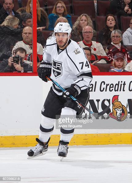 Playing in his 300th career NHL game Dwight King of the Los Angeles Kings skates against the Ottawa Senators at Canadian Tire Centre on November 11...