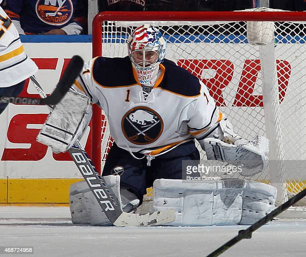 Playing in his first NHL game Andrey Makarov of the Buffalo Sabres tends net against the New York Islanders at the Nassau Veterans Memorial Coliseum...