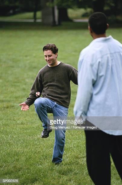 Playing Kicking Game