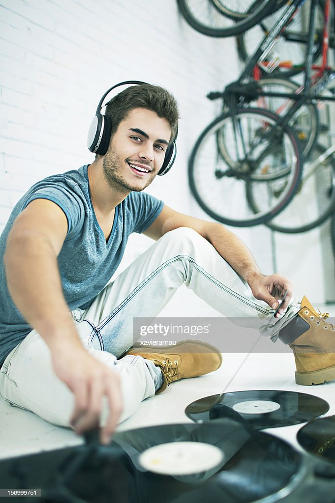 Playing music at home : Stock Photo