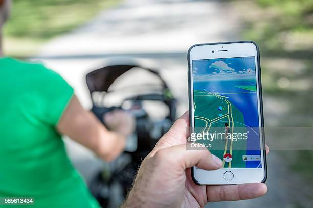 Playing Pokemon Go While Walking in the Park