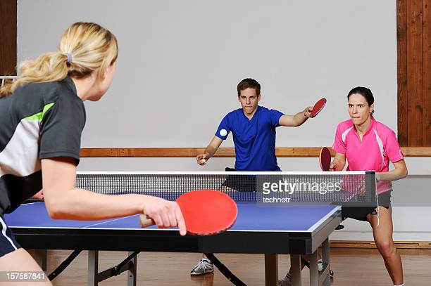 Playing table tennis mixed doubles