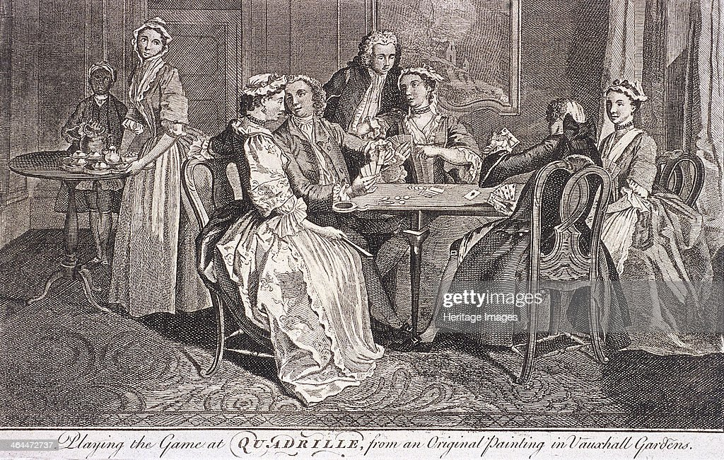 'Playing the game at quadrille' interior scene showing a group of men and woman playing a game of cards taken from an original painting from Vauxhall...
