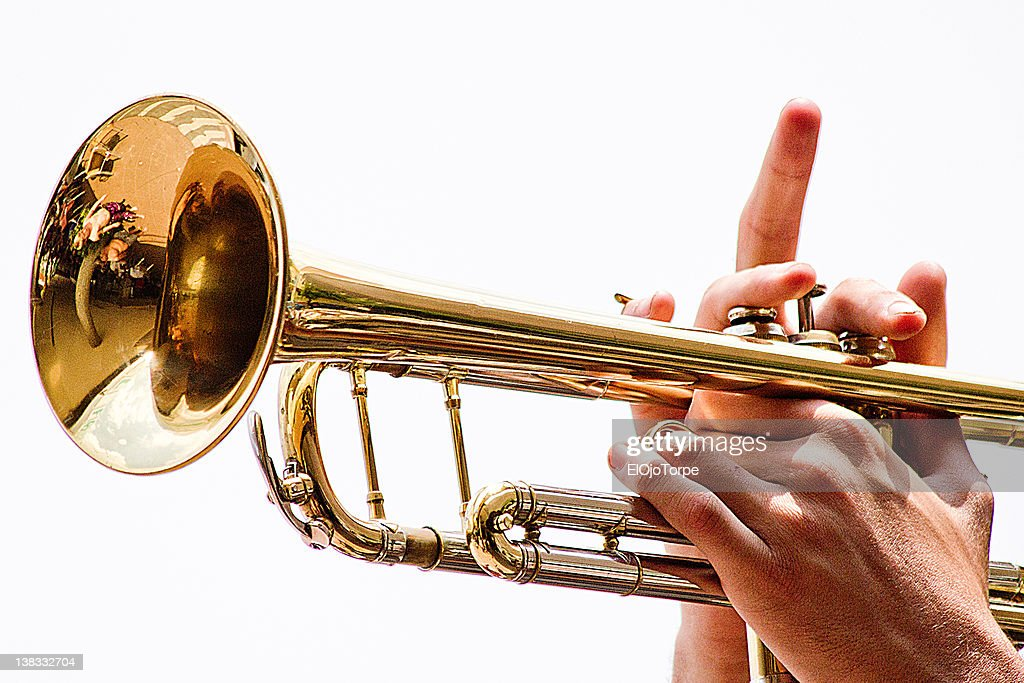 Playing trumpet : Stock Photo