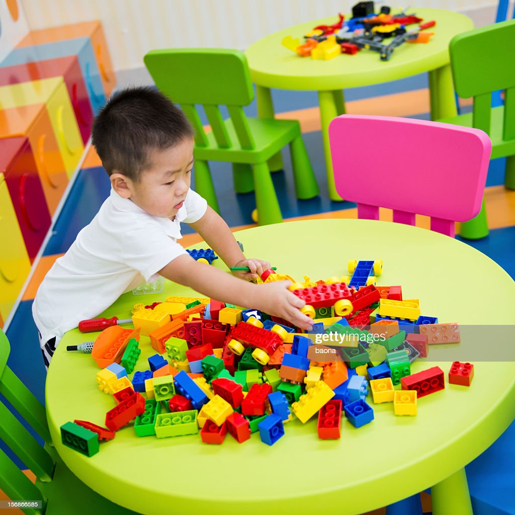 playing with blocks : Stock Photo