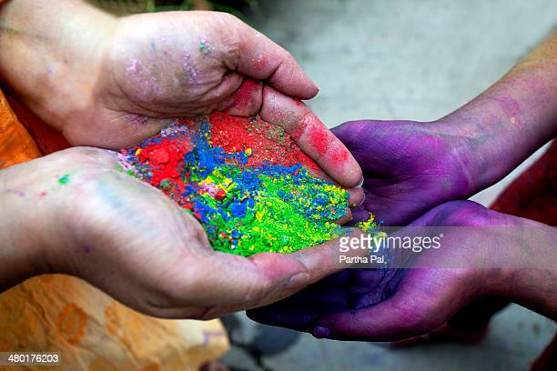 Playing with Gulal,Holi Festival,India
