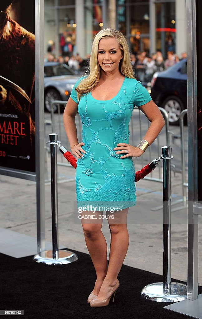 Playmate and actress <a gi-track='captionPersonalityLinkClicked' href=/galleries/search?phrase=Kendra+Wilkinson&family=editorial&specificpeople=539064 ng-click='$event.stopPropagation()'>Kendra Wilkinson</a> arrives at the World premiere of 'A Nightmare on Elm Street' in Hollywood, California, on April 27, 2010. AFP PHOTO / GABRIEL BOUYS