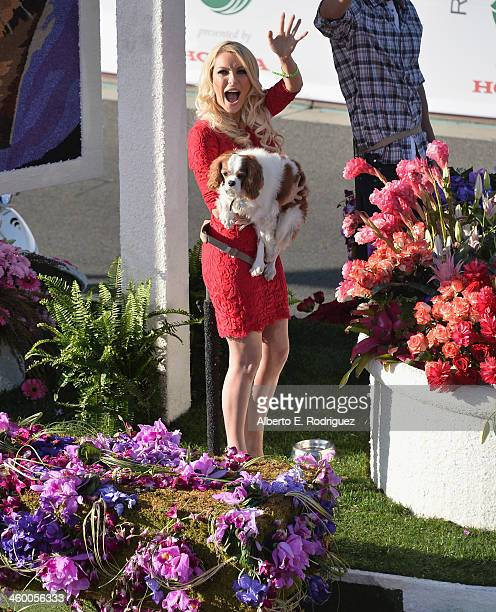 Playmate Crystal Hefner on the Beverly Hills Pet Foundation float attends the 125th Tournament of Roses Parade Presented by Honda on January 1 2014...