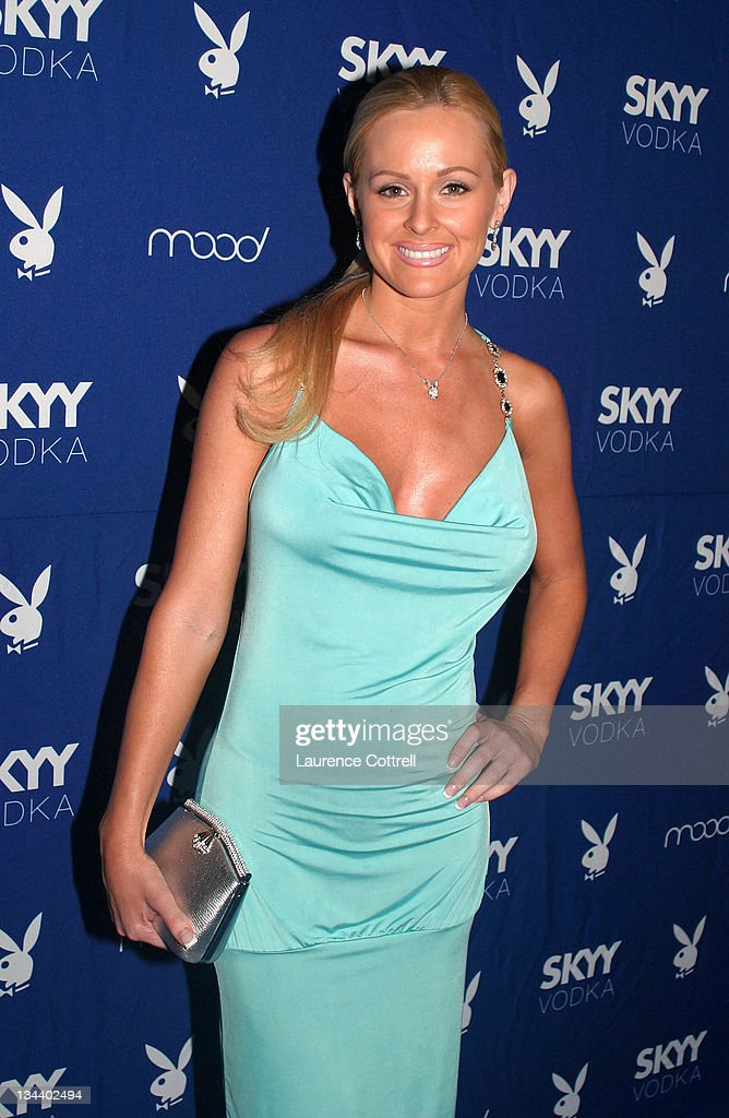 Playmate Katie Lohmann, April 2001 during Skyy Vodka Celebrates Playboy's August Issue With Playmate of the Year Kara Monaco at Mood in Los Angeles, California, United States.