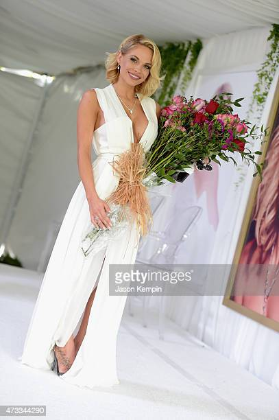 Playmate of the Year Dani Mathers poses onstage during Playboy's 2015 Playmate of the Year Ceremony at the Playboy Mansion on May 14 2015 in Los...