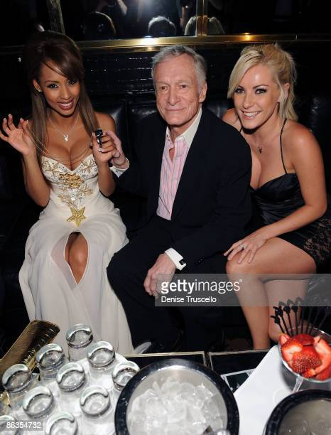 Playmate of the Year Ida Ljungqvist Hugh Hefner and Crystal Harris attend the Playboy Club at The palms Casino Resort on May 2 2009 in Las Vegas...