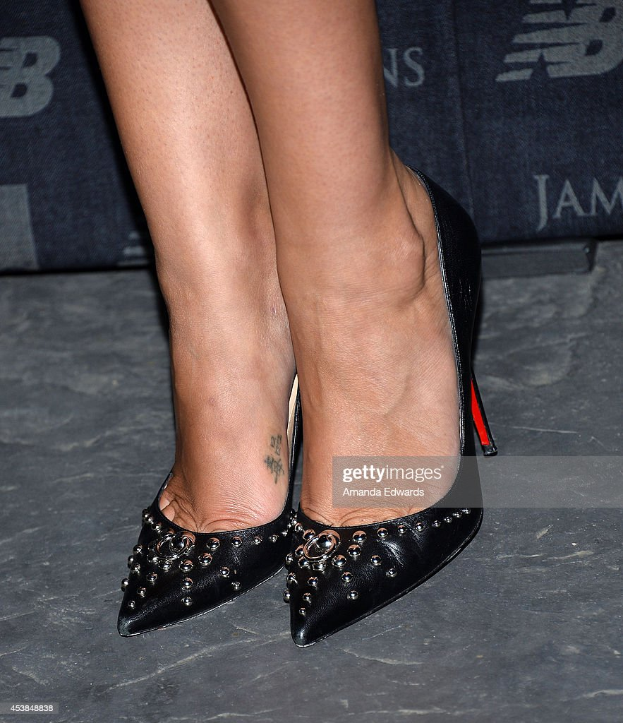Playmate of the Year <a gi-track='captionPersonalityLinkClicked' href=/galleries/search?phrase=Kennedy+Summers&family=editorial&specificpeople=12345410 ng-click='$event.stopPropagation()'>Kennedy Summers</a> (shoe detail) arrives at a dance party with New Balance and James Jeans powered by ISKO at a private residence on August 19, 2014 in Beverly Hills, California.