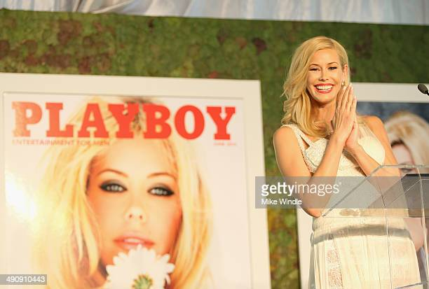 Playmate Of The Year Kennedy Summers speaks onstage during Playboy's 2014 Playmate Of The Year Announcement and Reception at The Playboy Mansion on...