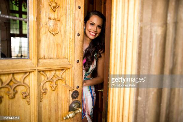 Playmate of the Year Raquel Pomplun arrives at Playboy's 2013 Playmate of the Year Luncheon at The Playboy Mansion on May 9 2013 in Holmby Hills...