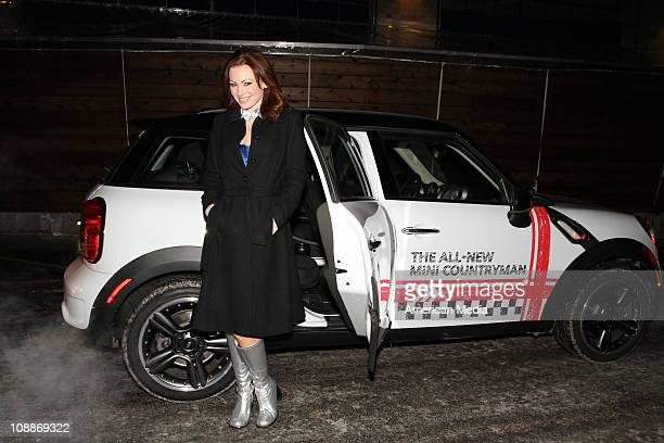 Playmate Pennelope Jimenez arrives in a Mini Cooper to the Super Bowl XLV Playboy party on February 4 2011 in Dallas Texas