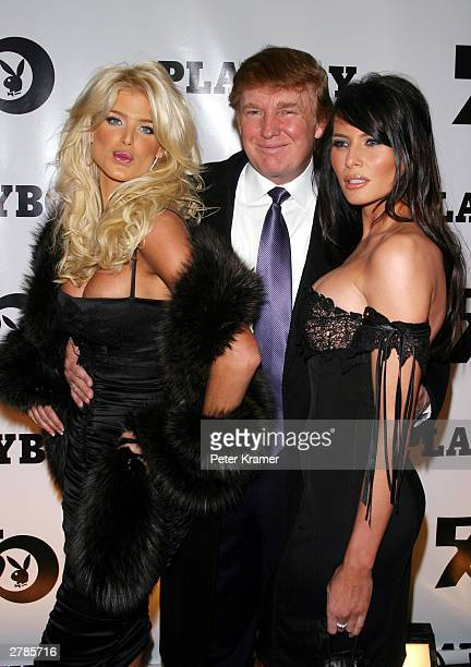 Playmate Victoria Silvstedt Donald Trump and Melania Knauss at the Playboy 50th Anniversary celebration December 4 2003 in New York City