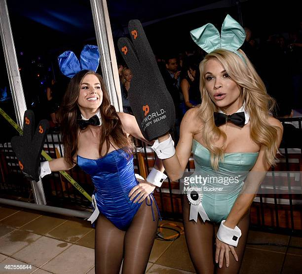 Playmates Alison Waite and Dani Mathers attend the Playboy Party at the W Scottsdale During Super Bowl Weekend on January 30 2015 in Scottsdale AZ