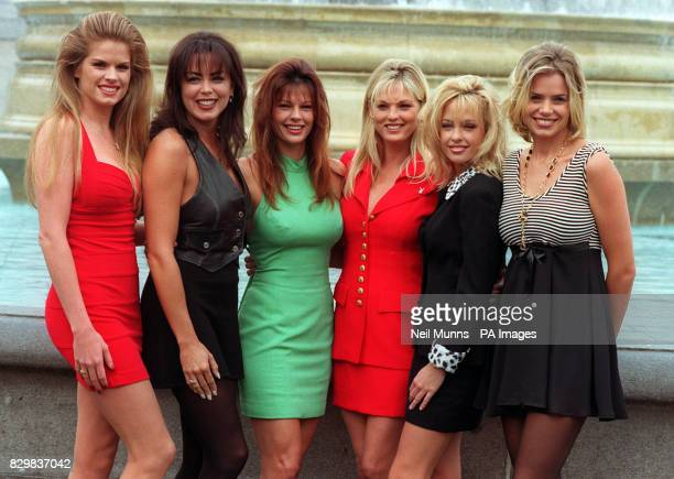 Playmates AnnaMarie Goddard Rhonda Adams Lynne Austin Brittany York Tawnni Cable and Julie Cialini in London's Trafalgar Square to mark the launch of...