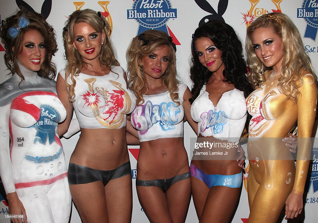 Playmates attend the Snoop Dogg Presents: Colt 45 'Works Every Time' mansion party with Evan and Daren Metropoulos at The Playboy Mansion on October 19, 2012 in Beverly Hills, California.