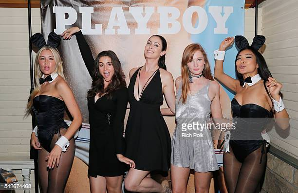 Playmates Heather Rae Young Alison Waite Summer Altice Dominique Jane and Hiromi Oshima celebrate the release of Playboy magazine's 'The Freedom...