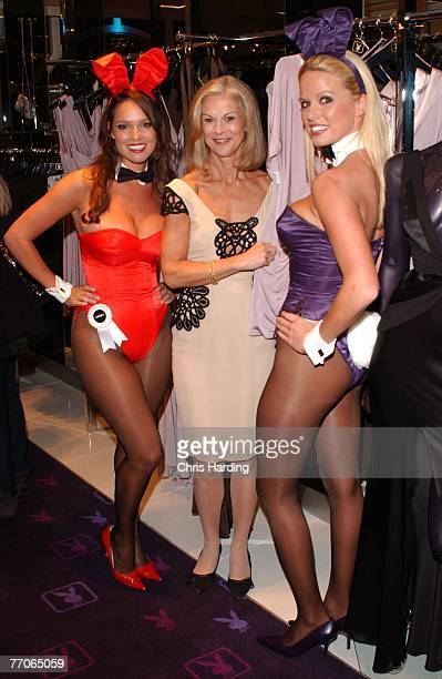 Playmates Lindsey Vuoloo and Lauren Anderson pose with Christine Hefner as they help Playboy celebrate the launch of its first London shop on...