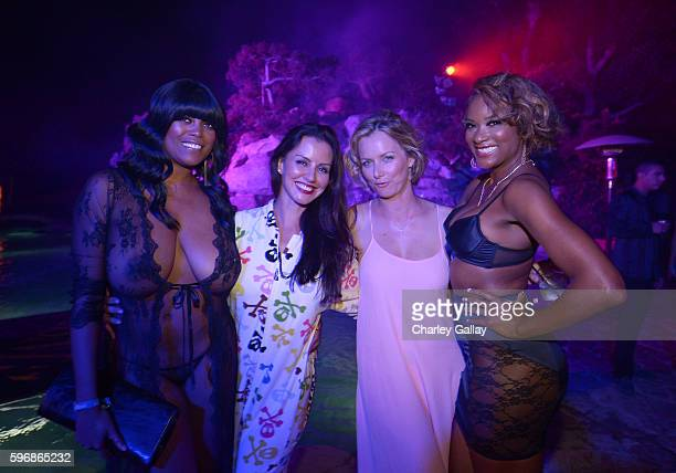 Playmates Quiana Chase Pennelope Jimenez Marketa Janska and Serria Tawan attend the annual Midsummer Night's Dream party hosted by Hugh Hefner at The...