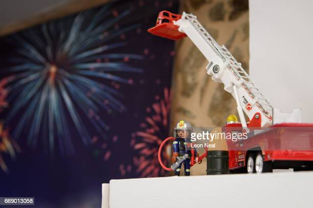 Playmobil fireman is displayed in a firework store on the day before the annual Rocket War known locally as the 'Rouketopolemos' on April 14 2017 in...