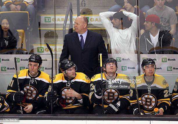 Playoff game one at the Eastern Conference quarterfinals The Bruins bench looks downcast after the Canadians goal late in the third period to put...