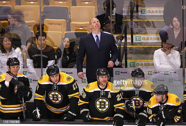 Playoff game one at the Eastern Conference quarterfinals The Bruins bench looks downcast with seconds left in the game as coach Claude Julien looks...