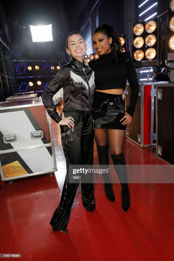 THE VOICE -- 'Playoff Rounds' -- Pictured: (l-r) Miley Cyrus, Jennifer Hudson --