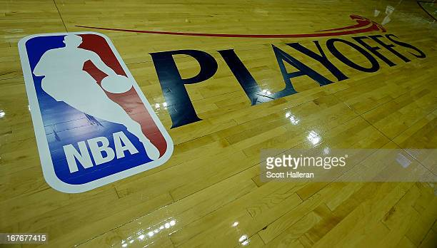 Playoffs logo is seen on the court before the game between the Oklahoma City Thunder and Houston Rockets in Game Three of the Western Conference...