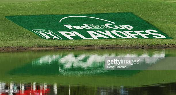 Playoffs logo is seen on the lawn near the clubhouse during the third round of the TOUR Championship at East Lake Golf Club on September 24 2016 in...